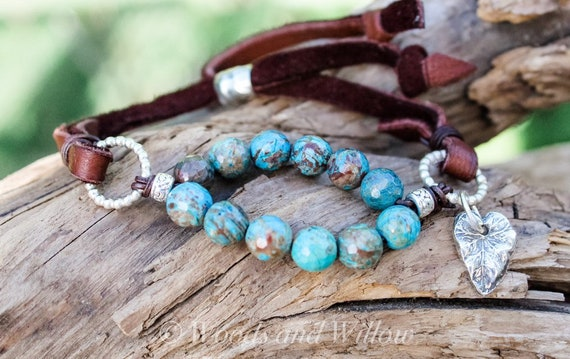 Beaded Bracelet, Leather Wrap Bracelet, Artisan Bracelet, Blue Stone Bracelet, Rainbow Calsilica Bracelet