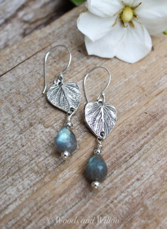 Sterling Silver Leaf Earrings, Silver Leaf Earrings, Heart Shaped Earrings, Angelica Leaf Earrings, Labradorite Earrings, Artisan Earrings