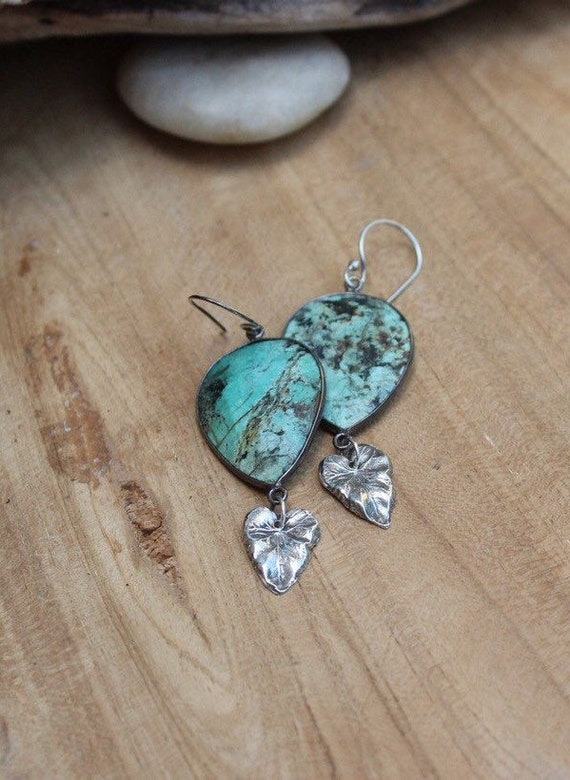 Sterling Silver Turquoise Earrings, African Turquoise Jasper Earrings, Silver Leaf Earrings, Jasper Earrings, Artisan Earrings