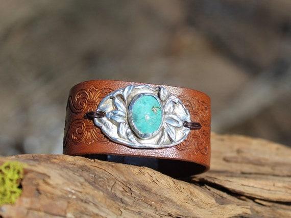 Mountain Laurel Bracelet, Sterling Bracelet, Leather Bracelet, Turquoise Bracelet, Artisan Bracelet, Silver Flower Bracelet