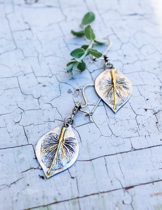 Sterling Silver and Gold Leaf Earrings, Angelica Leaf Earrings, Woodland Earrings, Artisan Earrings, Two Toned Earrings