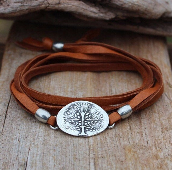 Leather Wrap Bracelet, Tree of Life Bracelet, Silver Tree Bracelet, Botanical Bracelet, Wrap Bracelet, Brown Wrap Bracelet