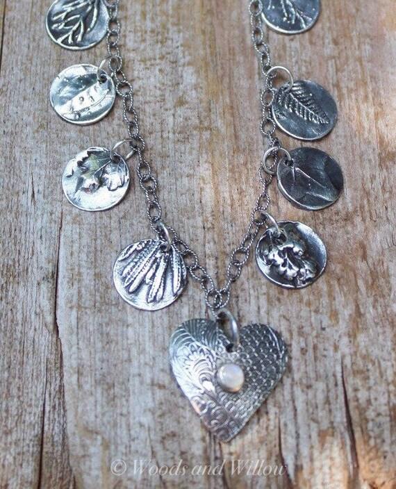SECRET GARDEN NECKLACE, Silver Leaf Necklace, Meaningful Necklace, Artisan Necklace, Heart Necklace, Moonstone Necklace