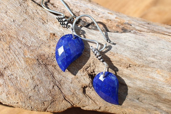 Lapis Earrings, Leaf Earrings, Artisan Earrings, Nature Earrings, Garden Earrings