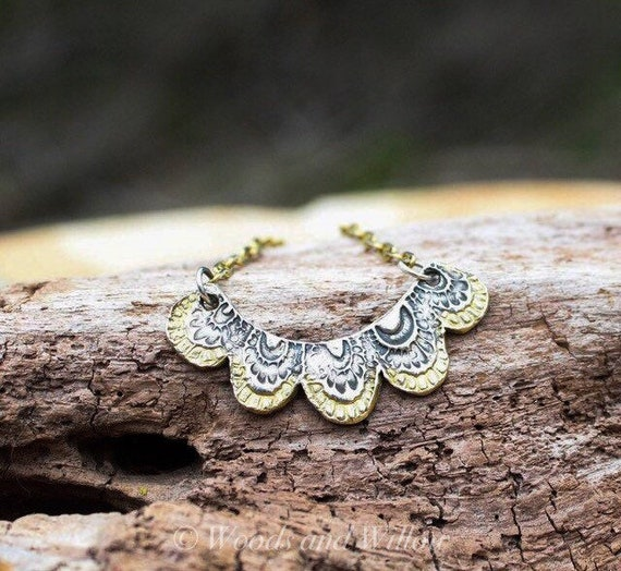 Silver and Gold Necklace, Artisan Necklace, Scalloped Necklace, Handmade Silver Necklace