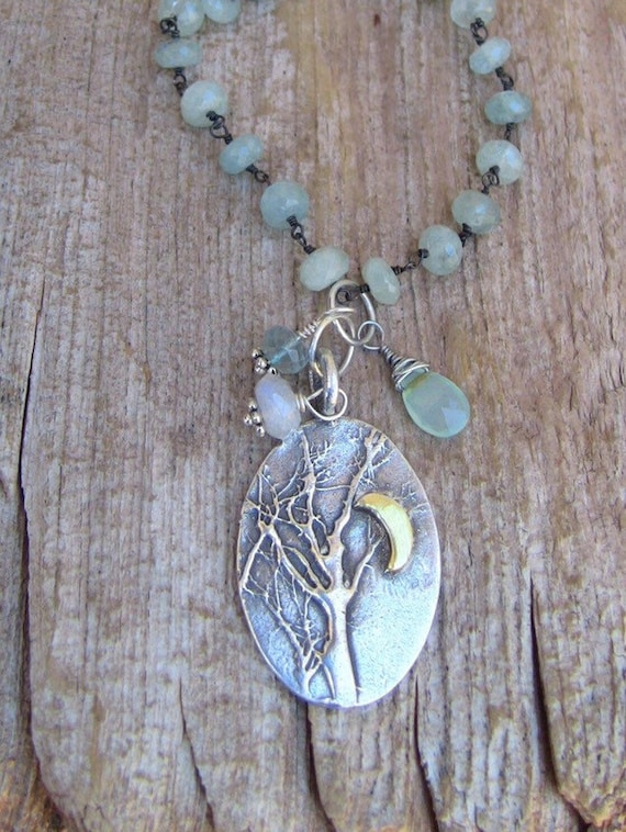Sterling Silver Forest Necklace, Leaf Necklace, Aquamarine Necklace, Garden Necklace, Tree Necklace, Long Silver Necklace