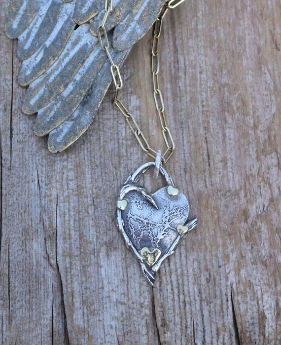 Spread Love This Time, Silver Heart Necklace, Gold Heart Necklace, Branch Necklace, Artisan Necklace