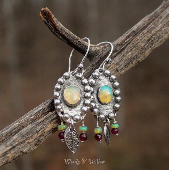 Sterling Silver Opal Earrings, Artisan Opal Earrings, Silver Earrings, Handmade Earrings, Ethiopian Opal Earrings