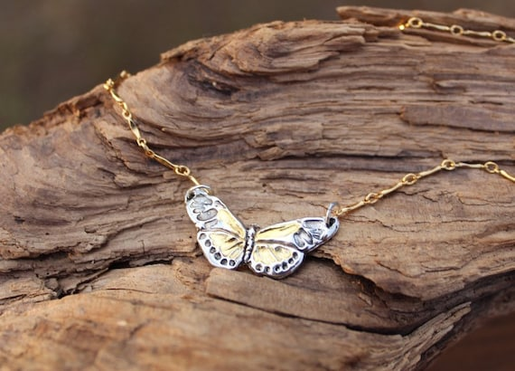 Sterling Silver Butterfly Necklace, Gold Butterfly Necklace, Artisan Butterfly Necklace, New Beginning Necklace, Inspirational Necklace