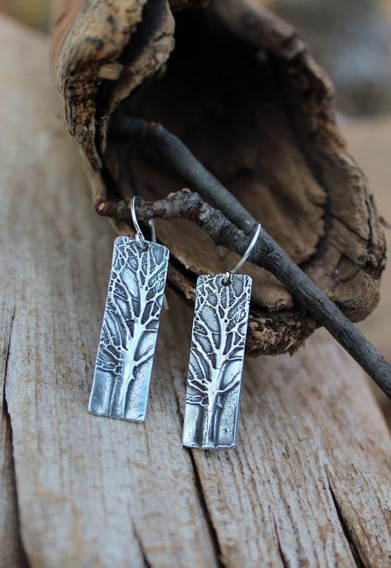 Sterling Silver Tree Earrings, Forest Earrings, Woodland Earrings, Nature Earrings
