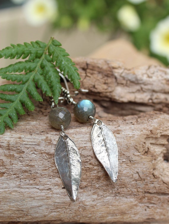 Sterling Silver Wisteria Earrings, Labradorite Earrings, Leaf Earrings, Dangle Leaf Earrings, Artisan Earrings