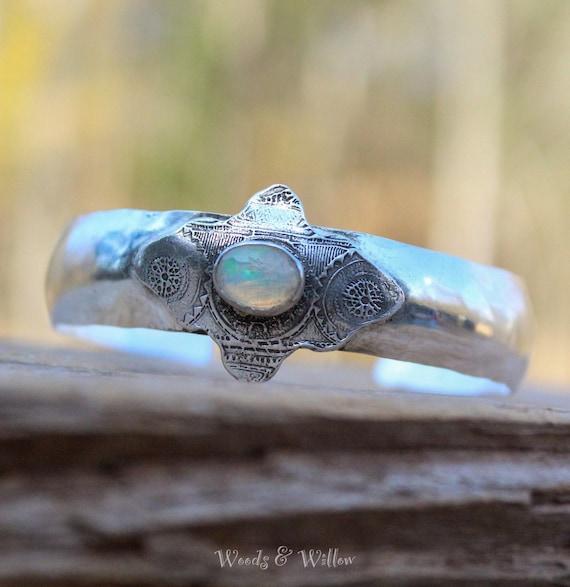Sterling Silver Cuff, Silver Opal Cuff, Artisan Cuff, Mandala Cuff, Sterling Cuff, Opal Bracelet, Ethiopian Opal Cuff Cuff