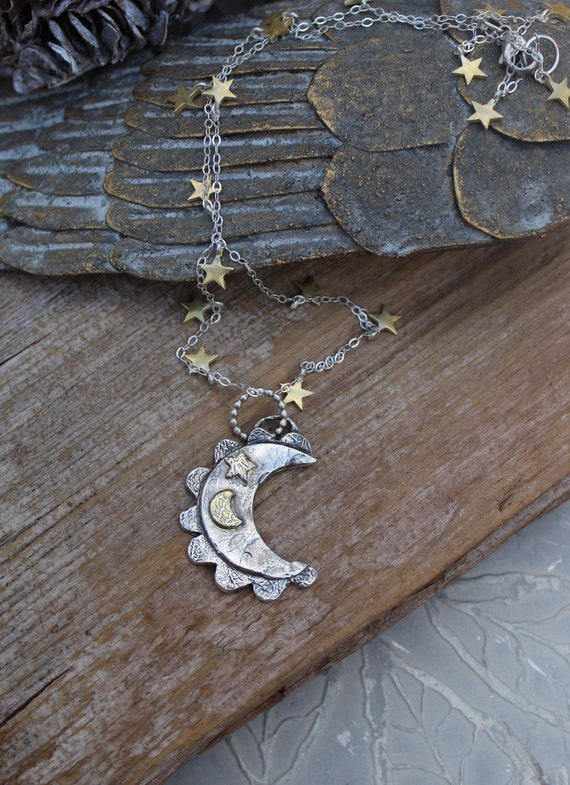 Sterling Silver Moon Necklace, Silver Moon Necklace, Crescent Moon Necklace, Celestial Necklace, Starry Night Necklace