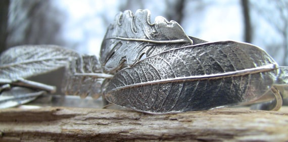 INTRODUCING Language of Leaves Cuff Bracelets, Sterling Silver Cuff Bracelet, Leaf Cuff, Silver Cuff Bracelet, Mantra Bracelet