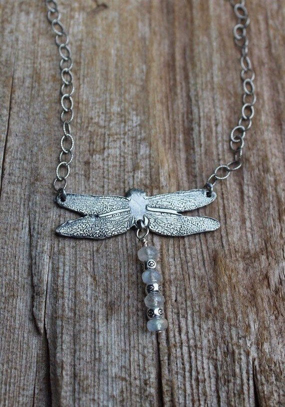 Fine Silver Artisan-Made Dragonfly Necklace With Rainbow Moonstones, Gemstone Necklace, Dragonfly Necklace