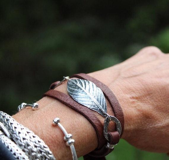 Sterling Silver Bracelet, Artisan Leaf Bracelet, Silver Link Bracelet, Leather Wrap Bracelet