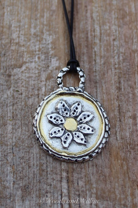 Silver and Gold Daisy Necklace, Artisan Necklace, Flower Charm Necklace, Flower Necklace, Silver Flower Necklace