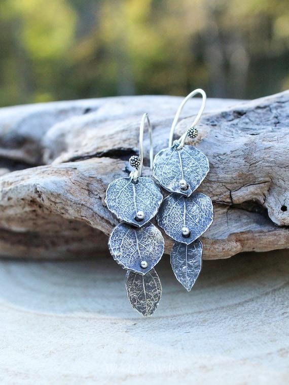 Sterling Silver Leaf Earrings, Dangle Leaf Earrings, Rivet Earrings, Artisan Earrings, Botanical Earrings