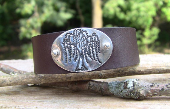 Sterling Silver Willow Tree Leather Bracelet, Leather Tree Bracelet, Tree Bracelet, Leather Bracelet