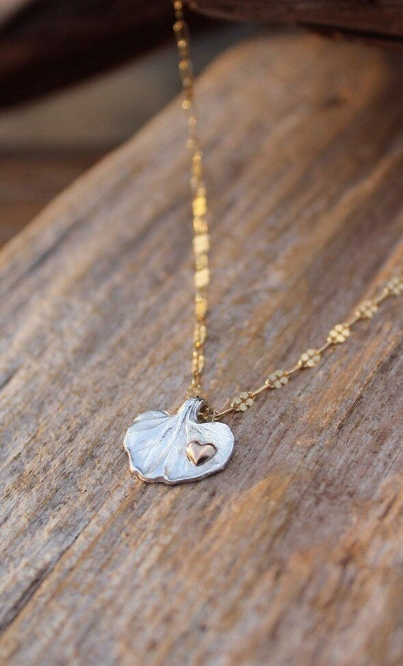 Petite Silver Leaf Necklace, Gold Heart Necklace, Gold and Silver Necklace, Nature Necklace, Garden Necklace