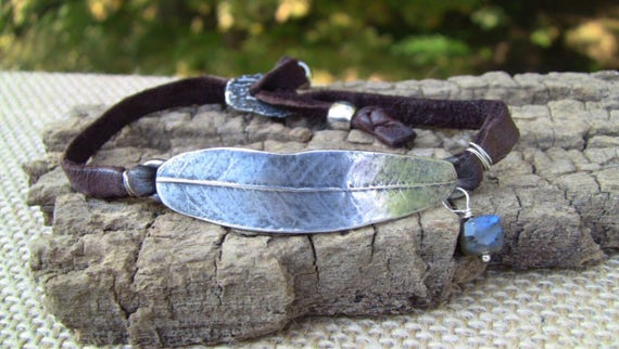Sterling Silver Leaf Bracelet, Wrap Bracelet, Silver Leaf Bracelet, Leather Wrap Bracelet, Willow Leaf Bracelet