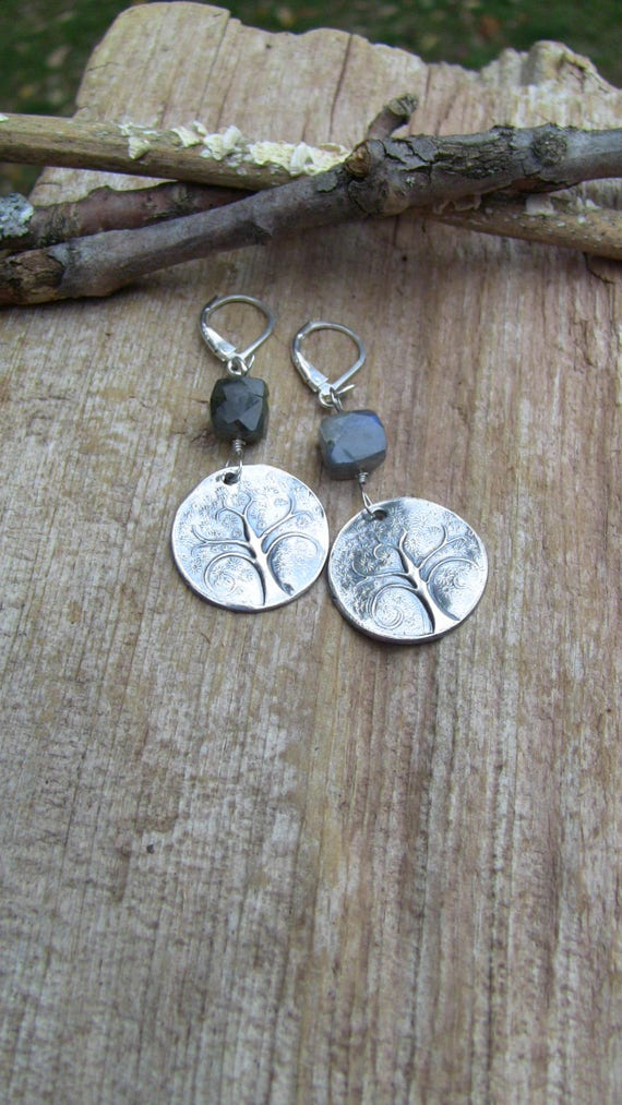 Sterling Silver Tree of Life Earrings, Tree of Life Jewelry, Tree of Life Earrings, Labradorite Earrings
