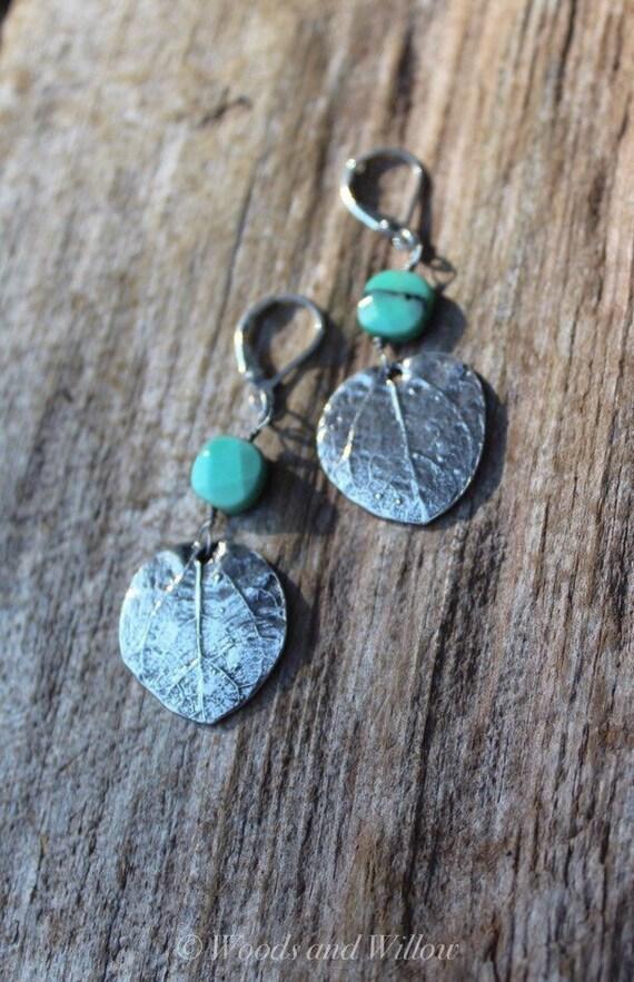 Sterling Silver Leaf Earrings, Aqua Moss Opal Earrings, Silver Leaf Earrings, Artisan Earrings, Money Tree Leaf Earrings