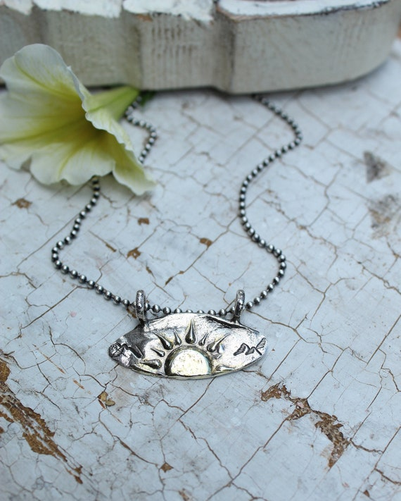 Sterling and Gold Sun Necklace, Here Comes the Sun Necklace, Artisan Necklace, Sunburst Necklace