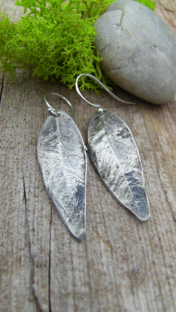 Sterling Silver Willow Leaf Earrings, Silver Leaf Earrings, Leaf Earrings, Artisan Earrings, Leaf Drop Earrings