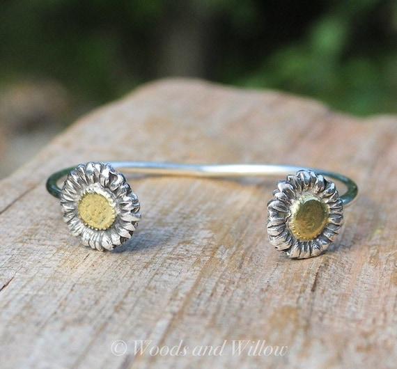 Silver Daisy Cuff, Daisy Bracelet, Sterling Flower Bracelet, Gold Flower Bracelet, Two-Toned Bracelet, Artisan Cuff