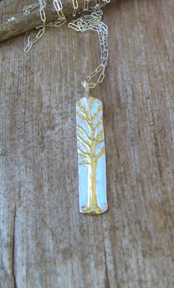 Sterling Silver Enchanted Forest Necklace, Bar Necklace, Tree Branch Necklace, Silver and Gold Tree Branch Necklace