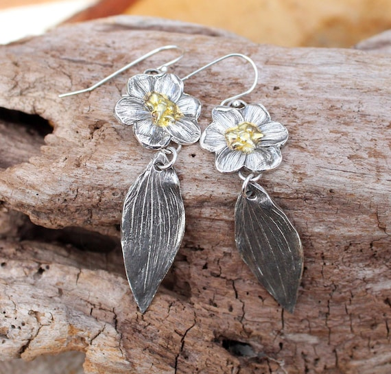 Sterling Silver and Gold Flower Drop Earrings, Silver Leaf Earrings, Artisan Earrings