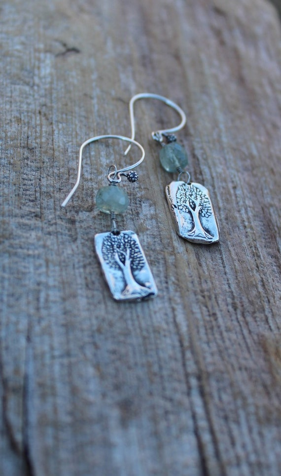 Sterling Silver Tree of Life Earrings, Tree Earrings, Artisan Earrings, Nature Earrings, Leaf Earrings, Aquamarine Earrings
