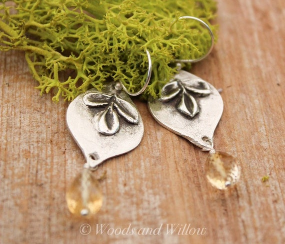 Silver Leaf Earrings, Flower Earrings, Citrine Earrings, Artisan Earrings, Sterling Leaf Earrings, Mendala Earrings