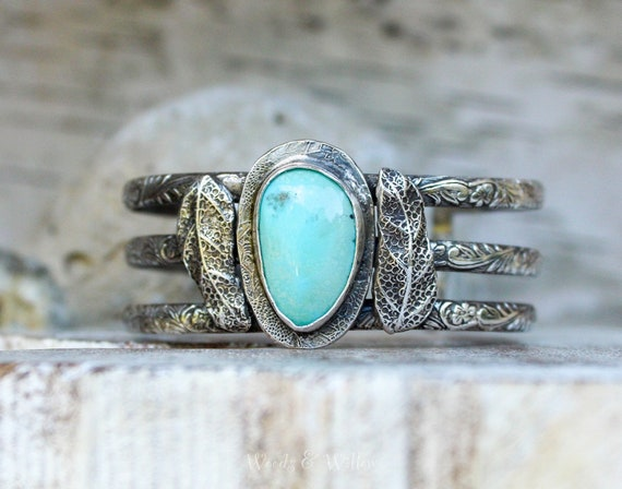 Sterling Silver Turquoise and Leaf Bracelet, Artisan Cuff, Silver Cuff with Stone, Turquoise Cuff