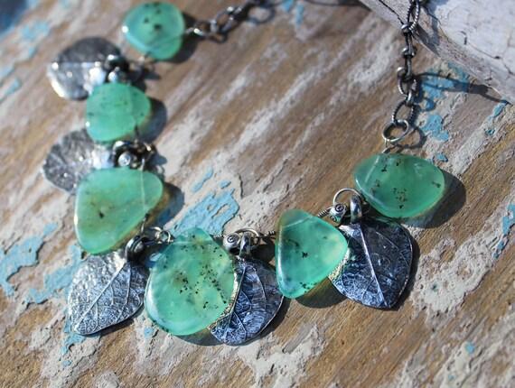 Sterling Silver Leaf Necklace, Artisan Necklace, Chrysoprase Necklace, Leaf Charm Necklace, Silver Leaf Necklace, Money Tree Necklace
