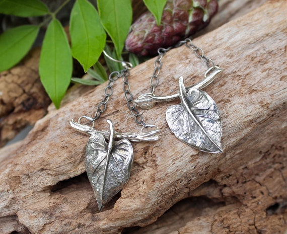 Sterling Silver Angelica Leaf Earrings, Branch Earrings, Artisan Earrings, Garden Earrings