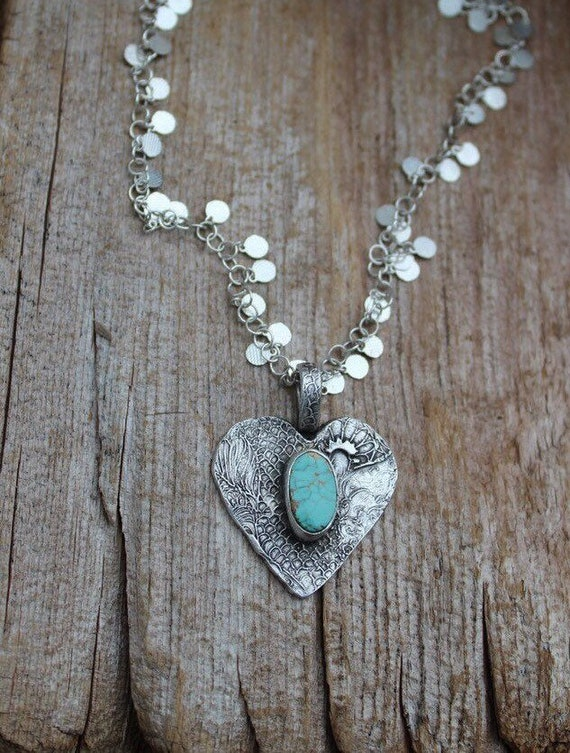 Silver Heart Necklace, Heart Necklace, Turquoise Necklace, Artisan Necklace, Turquoise Stone Necklace