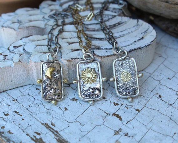 Sterling Silver and Gold Tarot Card Necklace, Tarot Card Necklace, Artisan Necklace, Talisman Necklace, Fortune Necklace