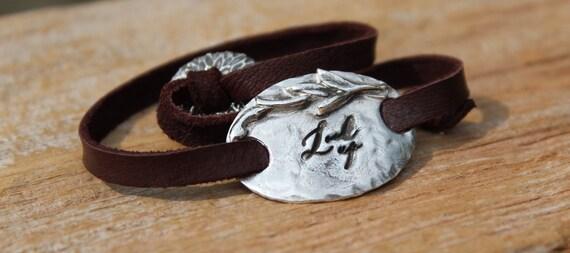 LOOK UP Bracelet, Silver Charm Bracelet, Leather Wrap Bracelet, Artisan Made Bracelet, Meaningful Bracelet