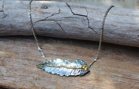 Sterling Silver Leaf Necklace, Gold and Silver Leaf Necklace, Silver Leaf Necklace, Silver Fern Necklace, Nature Necklace