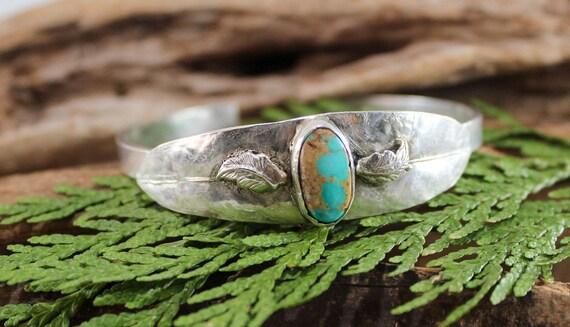 Sterling Silver Leaf Cuff, Turquoise Cuff, Willow Leaf Cuff, Silver Leaf Cuff, Artisan Cuff, Woodland Cuff