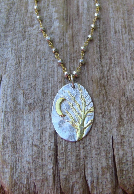 Sterling Silver Enchanted Forest Necklace, Crescent Moon Necklace, Pyrite Necklace