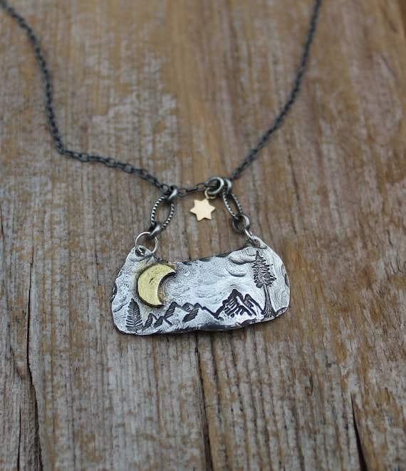 Sterling Silver Mountain Necklace, Woodland Necklace, Crescent Moon Necklace, Gold Star Necklace, Hiker Necklace, Nature Lover Necklace