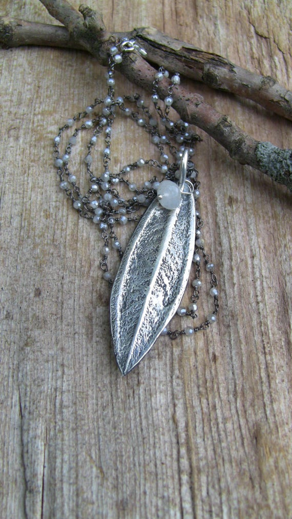 Sterling Silver Leaf Necklace, Moonstone Necklace, Silver Leaf Necklace, Tibouchina Leaf Necklace, Botanical Necklace, Long Leaf Necklace