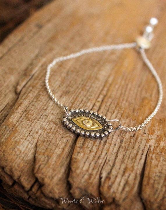 Sterling Silver and Gold Evil Eye Chain Bracelet, Smart Bead Bracelet, Adjustable Bracelet, Artisan Bracelet, Protection Bracelet