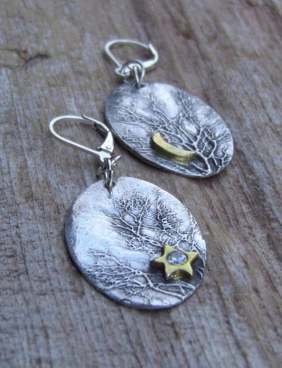 Sterling Silver Branch Earrings, Enchanted Forest Earrings, Gold Star Earrings, Diamond Earrings, Tree Earrings