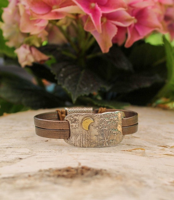 Sterling Silver Enchanted Forest Leather Wrap Bracelet, Crescent Moon Bracelet, Turquoise Stone Bracelet