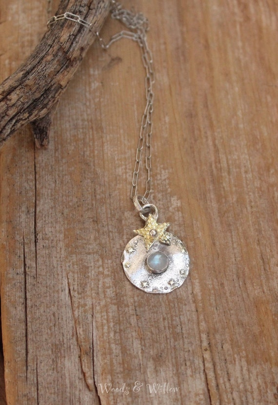 Sterling Silver Rainbow Moonstone Celestial Necklace, Gold Star Necklace, Moonstone Necklace, Artisan Necklace