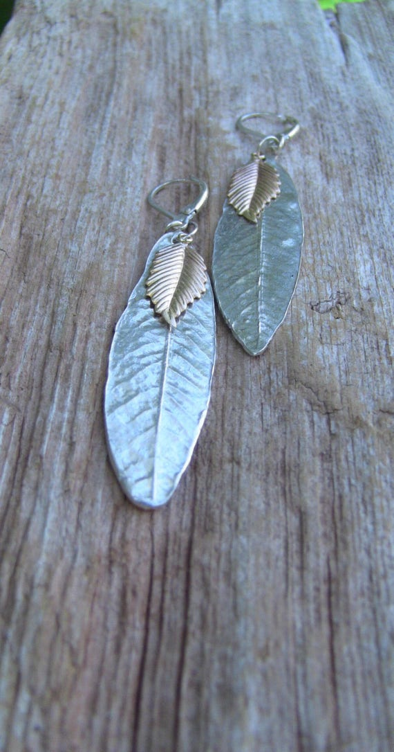 Sterling Silver Willow Leaf Earrings with Gold Leaf, Leaf Earrings, Gold Leaf Earrings, Two Toned Earrings, Handmade Earrings